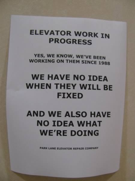 TGIFunnies! Creative Signs in Elevators - Motley News ...