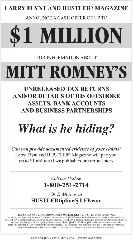 Larry Flynt's ad offering one million dollars for Romney's tax returns