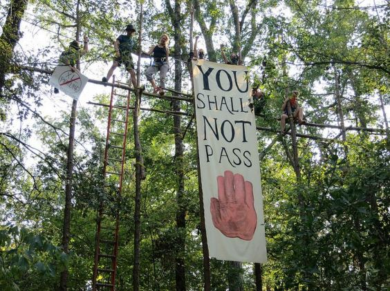 Stop the Keystone XL Pipeline_tree top activists sign you shall not pass