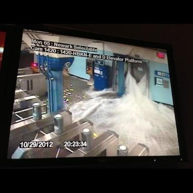 In this photo provided by the Port Authority of New York and New Jersey a surveillance camera captures the PATH station in Hoboken, N.J., as it is flooded shortly before 9:30 p.m. EDT on Monday, Oct. 29, 2012. (AP)
