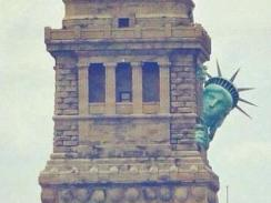 Looks like the Statue of Liberty doesn't like the storm either.