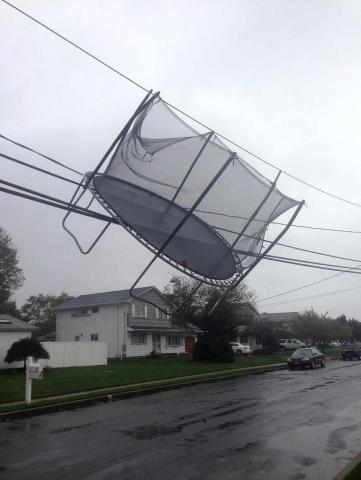 Hurricane Sandy Trampoline hanging from power lines