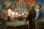 Nine Democrat Presidents Including Obama Playing a Game of Pool