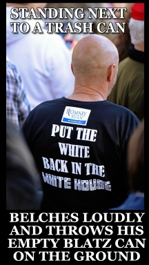 Put the White Back in the White House twit pic belches throws can on the ground