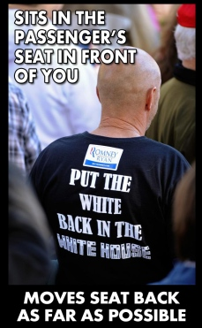 Put the White Back in the White House twit pic moves passenger seat back sitting in front ofyou