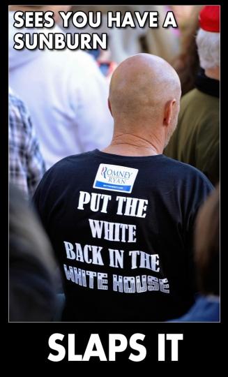 Put the White Back in the White House twit pic SLAPS A SUNBURN