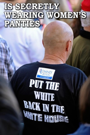 Put the White Back in the White House twit pic wearing women's panties