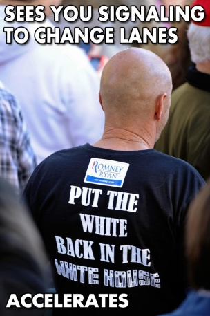 Put the White Back in the White House twit pic wont let you into his lane