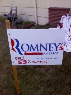 Romney's America 0 Only 53% matter sign