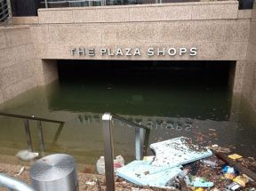 Flooded subway entrance