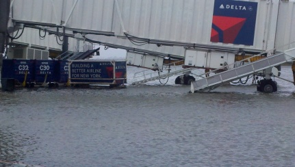 La Guardia Airport flooded. Photo: Frank Giannola