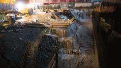Sea water floods the Ground Zero construction site at the World Trade Center, Monday, Oct. 29, 2012, in New York. (AP)