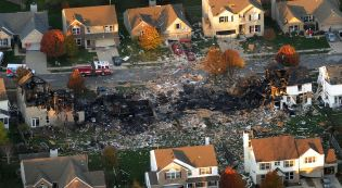 AFTER: Aerial image from Google Maps after homes were leveled from Explosion in Indianapolis.
