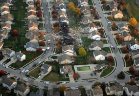 AFTER: Aerial shot of Indy homes after explosion. News chopper. AP Photo/The Indianapolis Star, Matt Kryger)