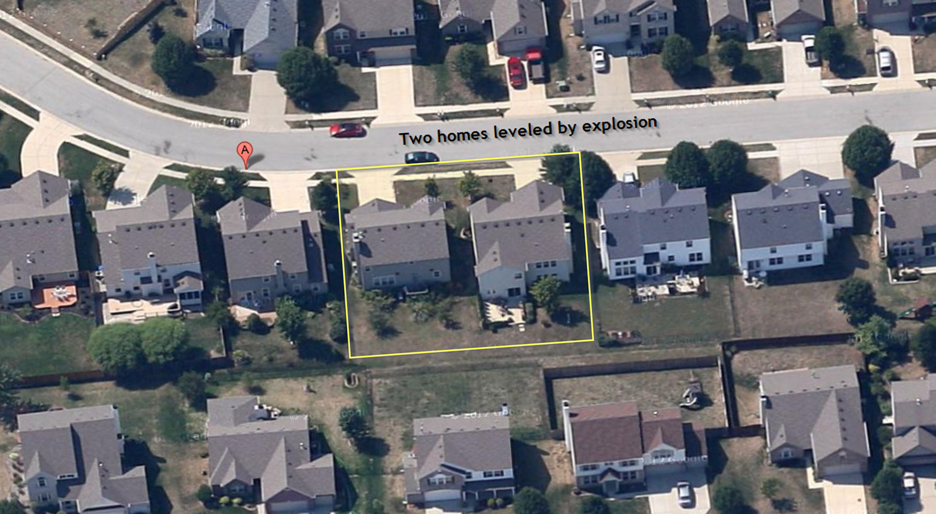 Indy explosion aerial google maps of two homes before leveled by ...