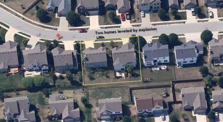 BEFORE: Aerial image from Google Maps before homes were leveled from Explosion in Indianapolis.