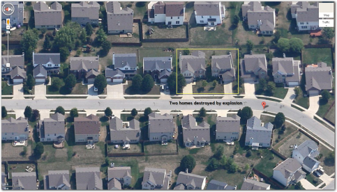 BEFORE. Aerial view of south side Indy homes before destroyed by explosion. (AP Photo/The Indianapolis Star, Matt Kryger)