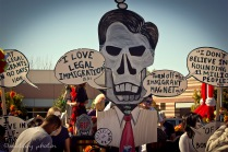 Mitt Skeleton Romney on illegal immigration 01 _Dia de los Muertos ABQ 2012