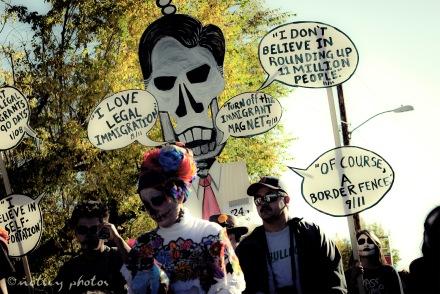 Mitt Skeleton Romney on illegal immigration 06 _Dia de los Muertos ABQ 2012