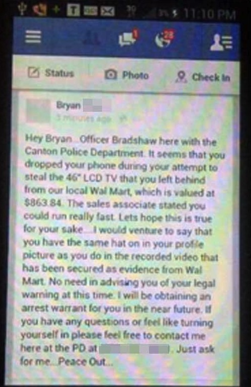 Funny Facebook post dropped phone when stealing tv from walmart message from police