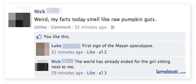 Funny Facebook post fart made the world end