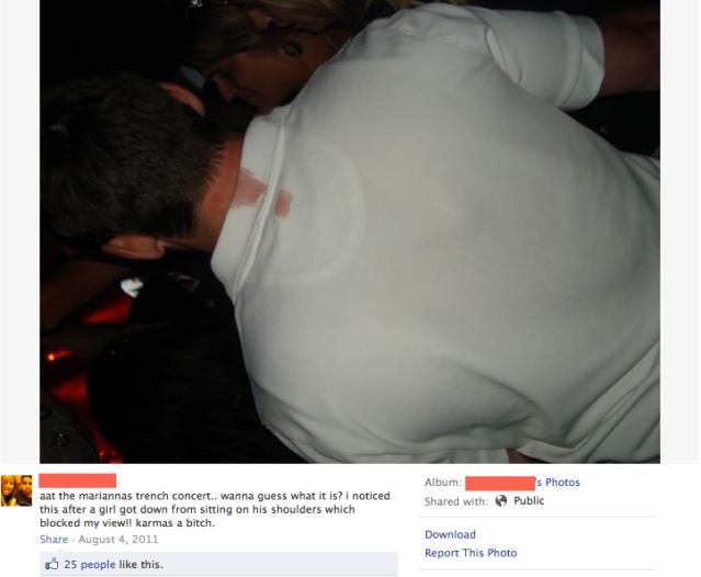 funny facebook post girl menstruating while on guys shoulder at concert