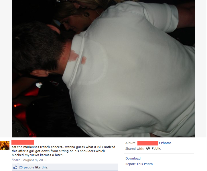 funny facebook post girl menstruating while on guys shoulder at concert