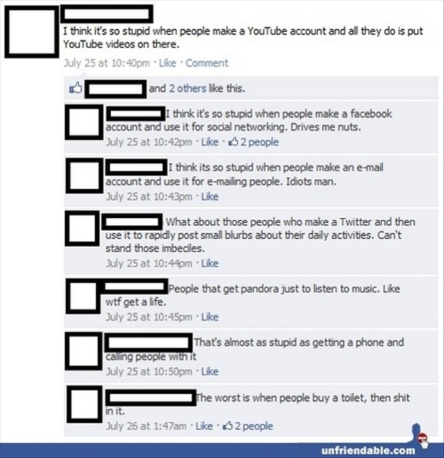 Funny Facebook post hate it when people open a youtube account and upload videos on it
