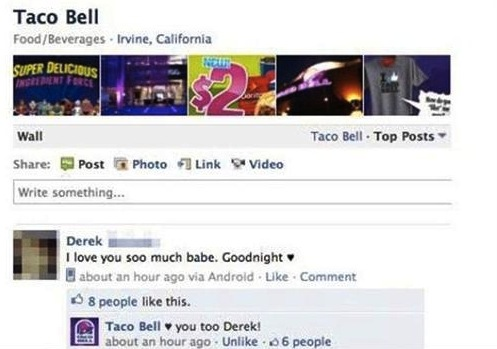 Funny Facebook post love you posted on Taco Bell love you back