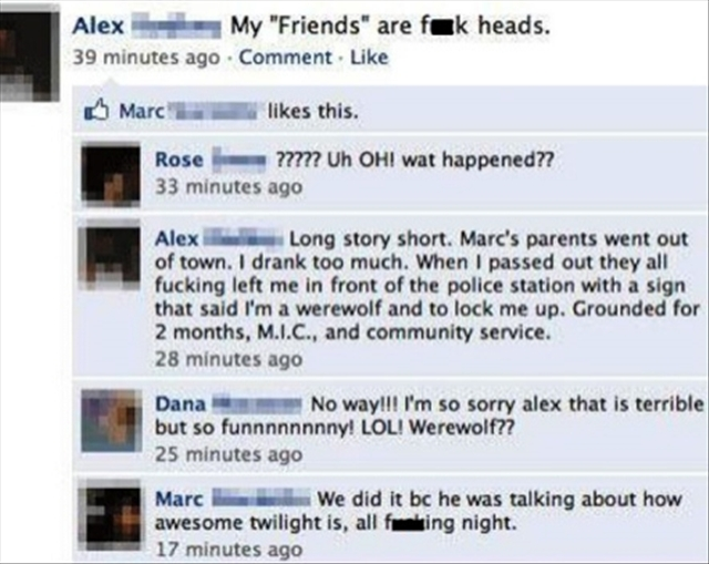 Funny Facebook post talked about twilight all night