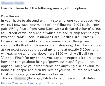 Funny Facebook post to guy who stole phone
