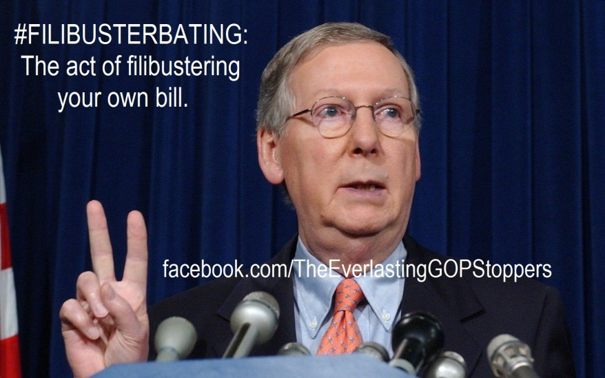 Mitch McConnell Filibusterbating his own bill