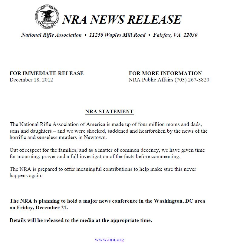 NRA press release snapshot