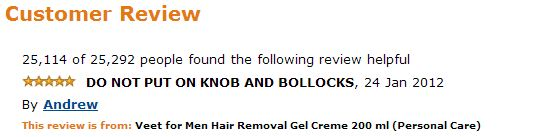 Veet for men hair removal amazon comment DO NOT PUT ON KNOB AND BOLLOCKS