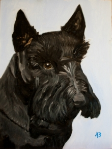 An oil painting of Barney by former President George W. Bush.