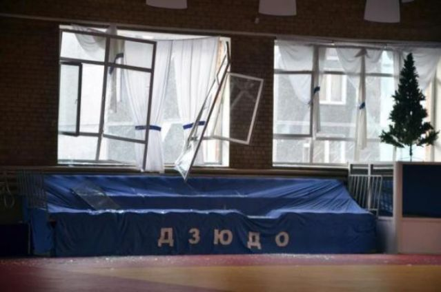 February 15, 2013: Broken windows and debris are seen inside a sports hall following sightings of a falling object in the sky in the Urals city of Chelyabinsk, Russia.