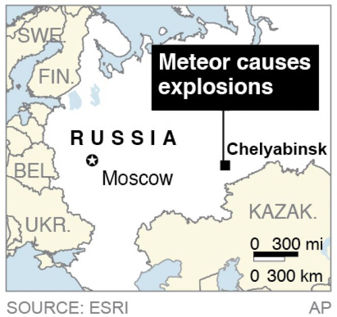Map locates Chelyabinsk, Russia, where a meteor caused explosions in the area.  Source: AP