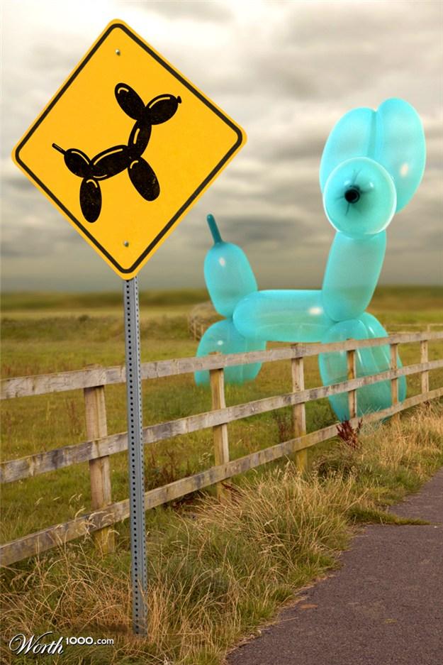 aprils fools day balloon animal sign