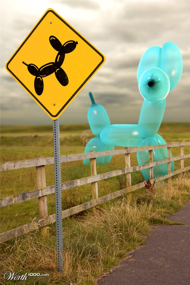 aprils fools day balloon animal sign