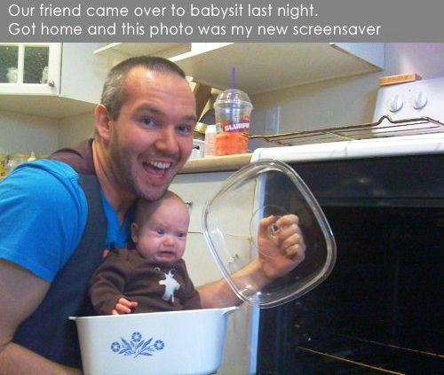 baby-sitter screensave baby in casserole dish