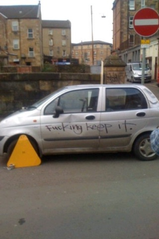 car booted spray painted to just keep it loveglasgow