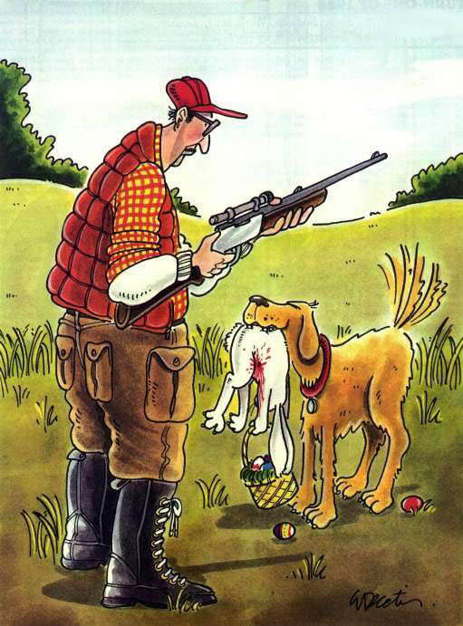 easter cartoon hunter dog easter bunny