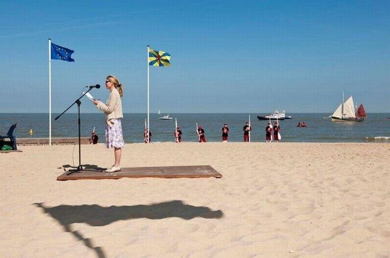 floating platform on beach