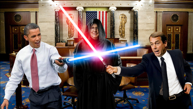 Obama Light Saber against Boehner and McConnell