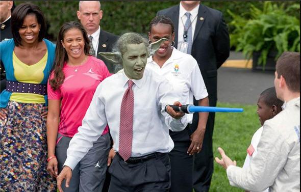 Obama Light Saber as Yoda