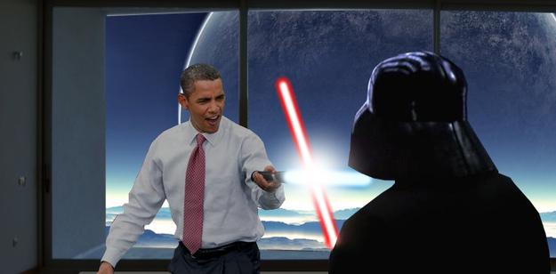 Obama Light Saber Jedi Obama against Darth Vader