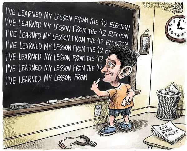 political cartoon paul ryan learns lesson_ not