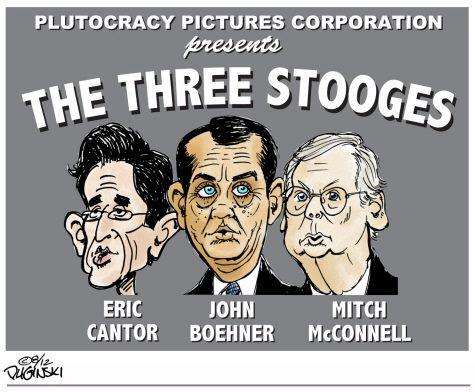 Political humor cartoon three stooges cantor boehner mcconnell