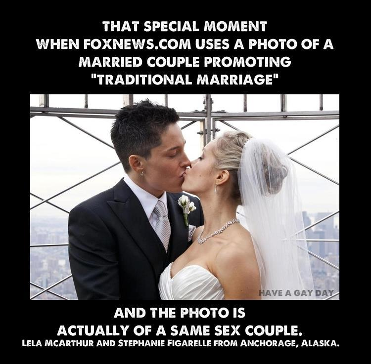 political humor FOX news FAIL used lesbian marriage as example of traditional marriage