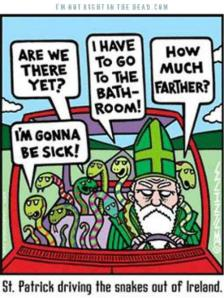 St Patricks Day cartoon driving the snakes out of Ireland